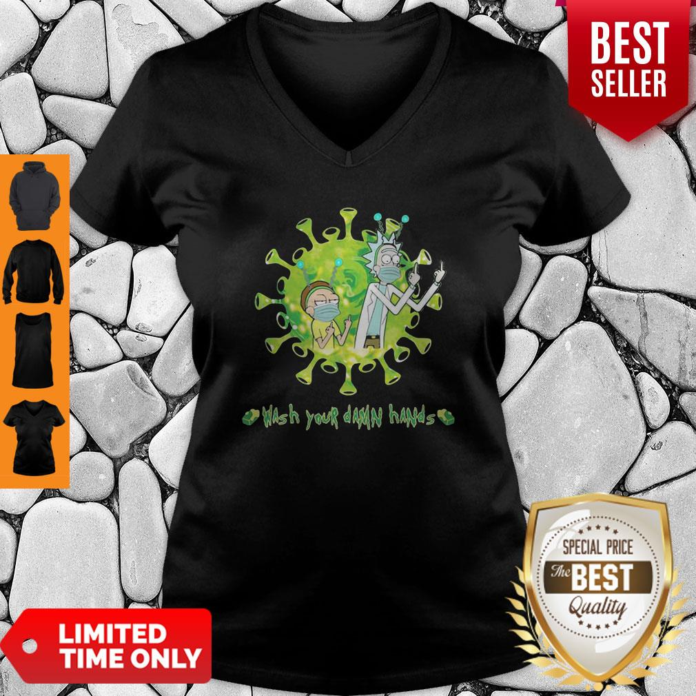 Rick And Morty Wash Your Damn Hands Covid-19 V-Neck