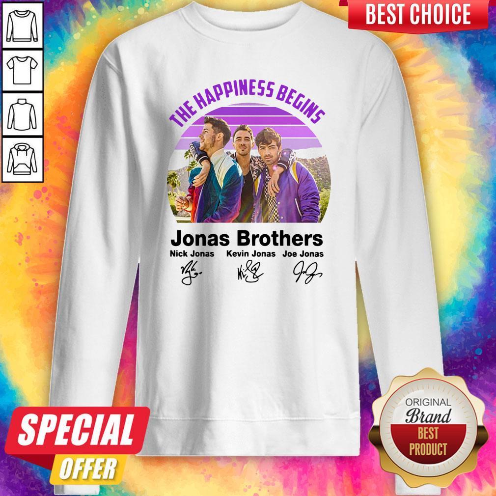Top Vintage The Happiness Begins Jonas Brothers Signatures Sweatshirt