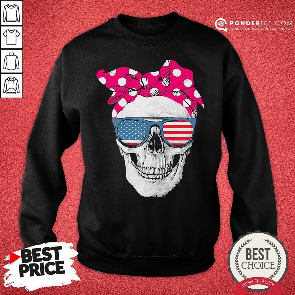Hot Womens American Skull Women's Pride With Cute Pink Polka Style 2020 Sweatshirt - Desisn By Pondertee.com