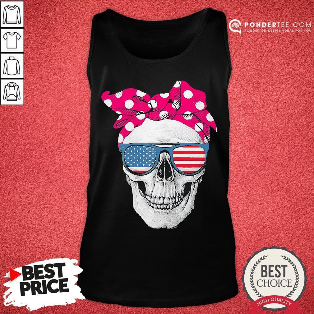 Hot Womens American Skull Women's Pride With Cute Pink Polka Style 2020 Tank Top - Desisn By Pondertee.com