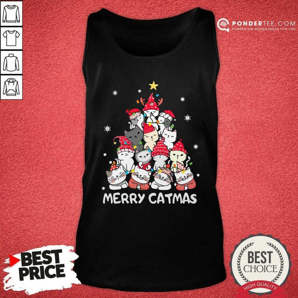 Cats Merry Catmas Merry Christmas Tree Tank Top - Desisn By Pondertee.com