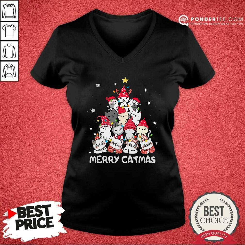 Cats Merry Catmas Merry Christmas Tree V-neck - Desisn By Pondertee.com