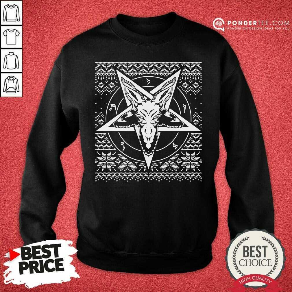 Baphomet Christmas Ugly Christmas Sweatshirt - Desisn By Pondertee.com