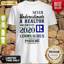 Never Underestimate A Realtor Logo Who Survived 2020 Coronavirus Shirt