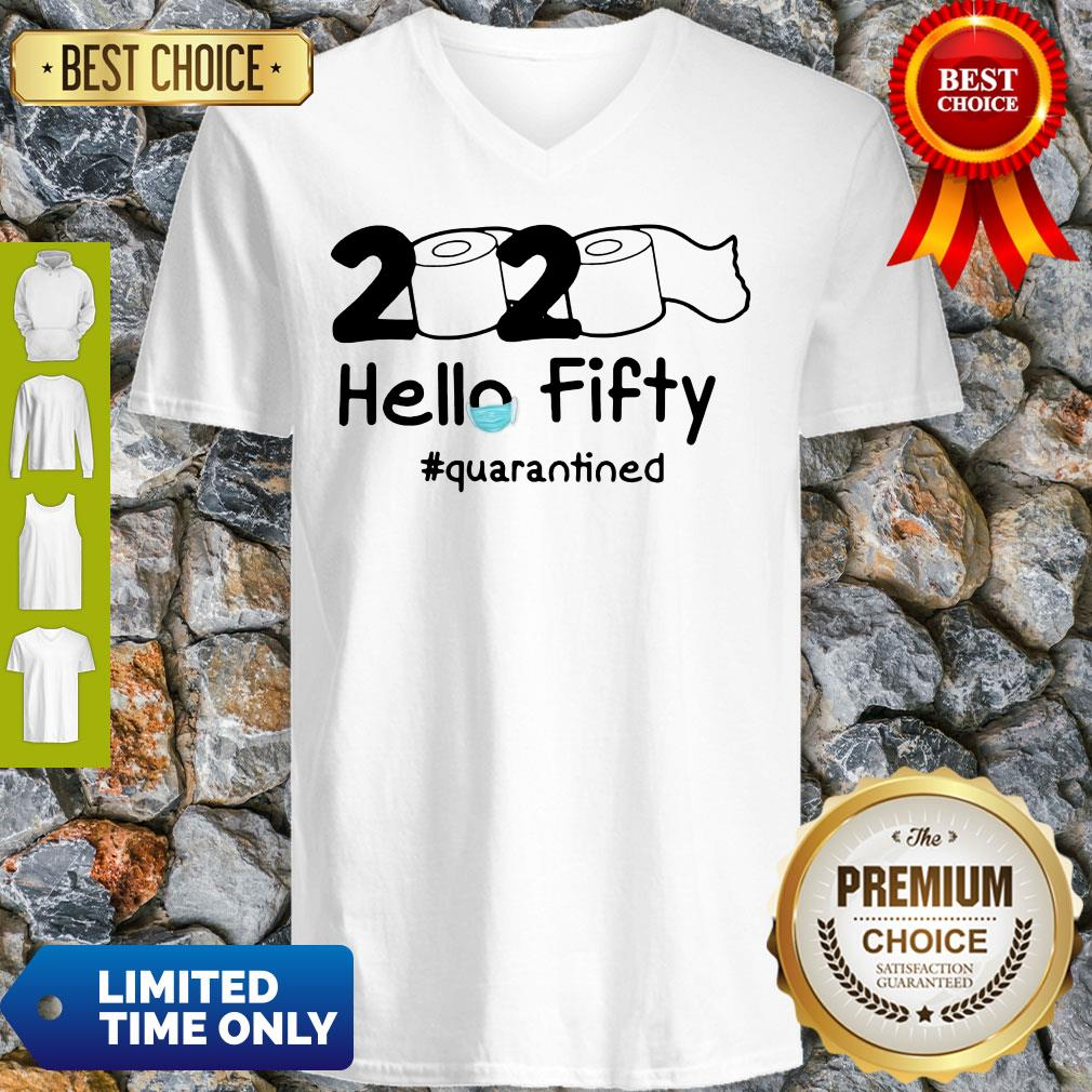Official 2020 Hello Fifty #Quarantined V-Neck