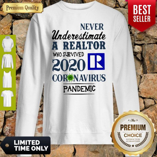 Never Underestimate A Realtor Logo Who Survived 2020 Coronavirus Sweatshirt