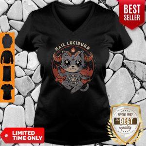 Funny Cat Satan Hail Lucipurr Baphomet V-neck
