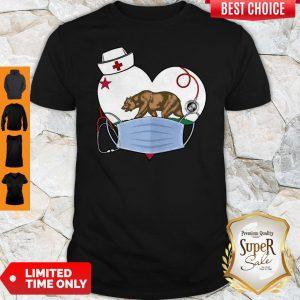 Top The Bear State Heart Flag Nurse Shirt