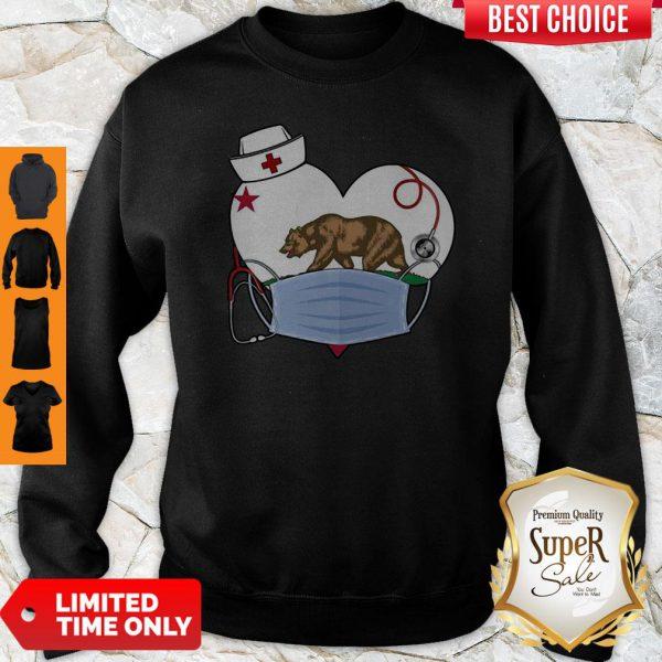 Top The Bear State Heart Flag Nurse Sweatshirt