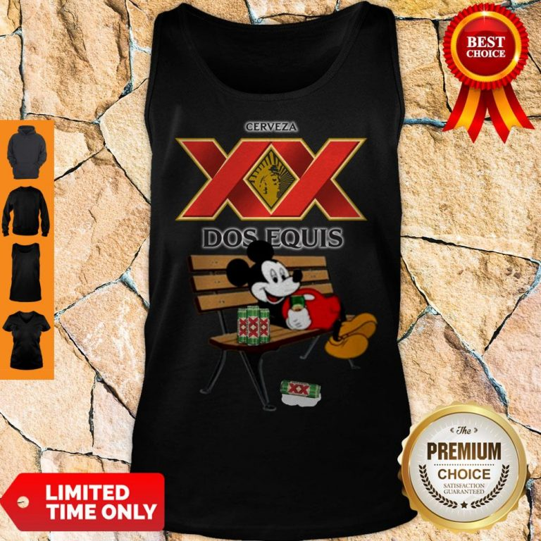 Nice Mickey Mouse Drinking Dos Equis Xx Beer Tank Top