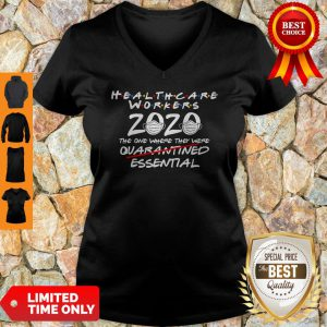 Vintage Healthcare Worker 2020 The One Where They Were Essential V-neck
