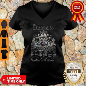 Never The Raiders 60th Anniversary 1960 2020 Thank You For The Memories V-neck