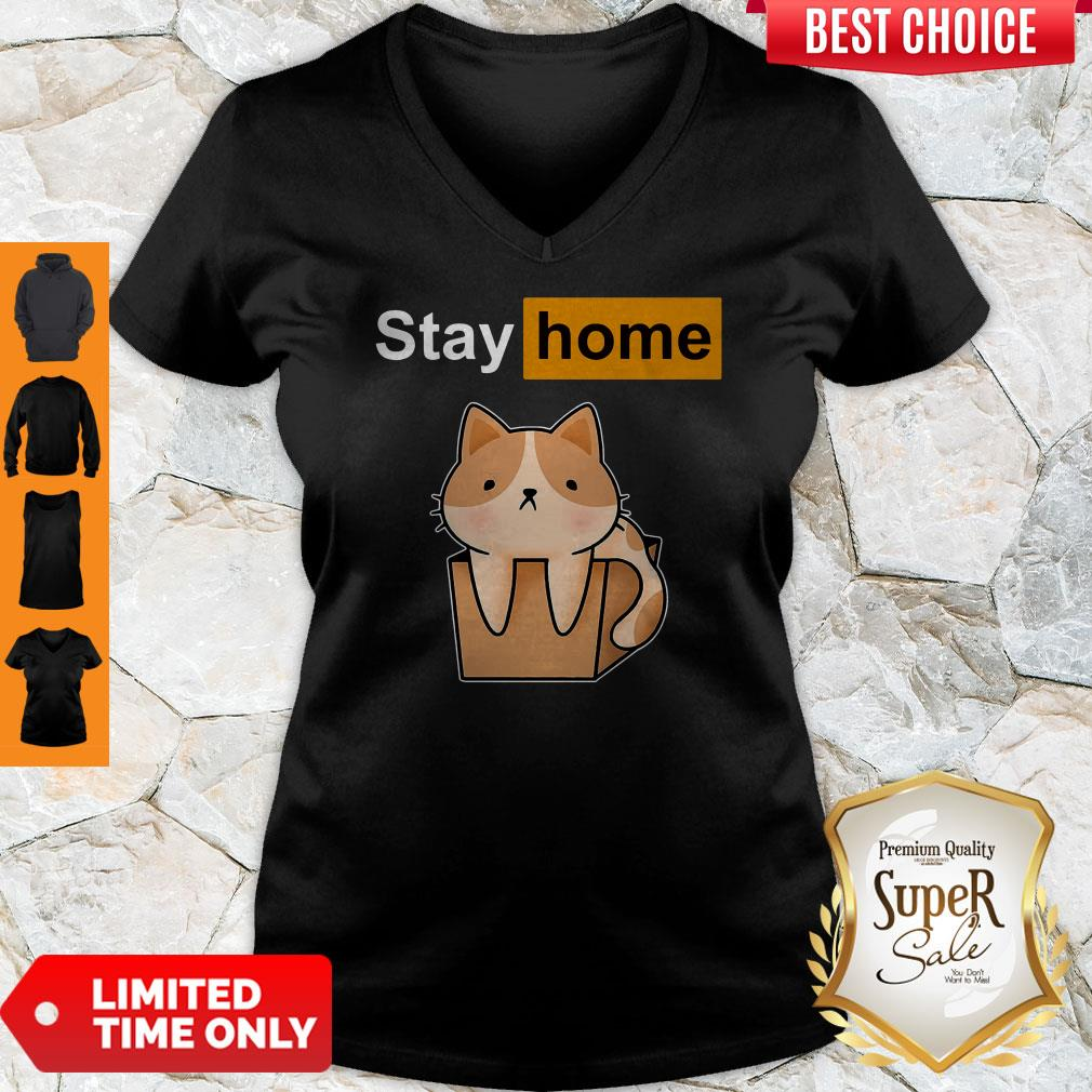 Funny Official Cat stay home V-neck