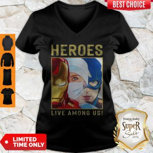 Heroes Live Among Us Nurse Avengers Marvel V-Neck