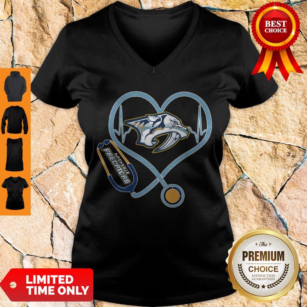 Star Heartbeat Nurse Nashville Predators V-neck