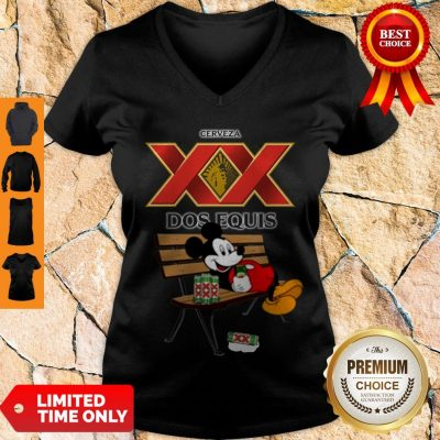 Nice Mickey Mouse Drinking Dos Equis Xx Beer V-neck
