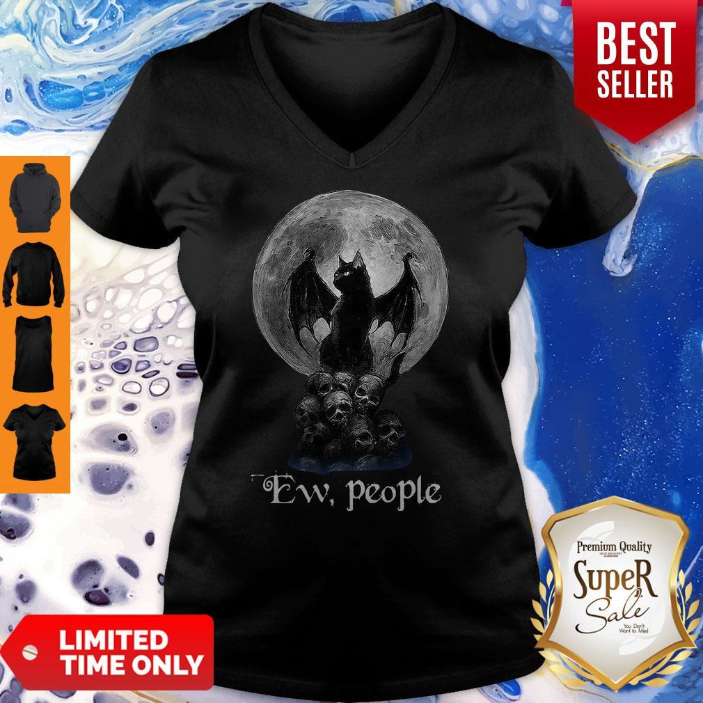 Mickey Bat And Black Cat Moon Skull Ew People V-neck