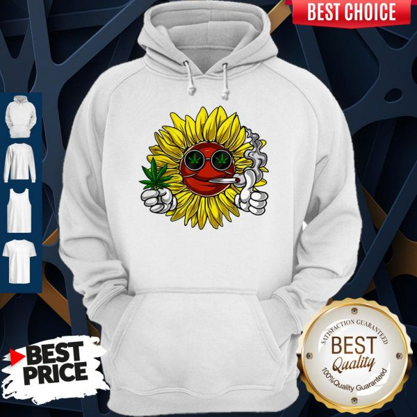 Awesome Hippie Sunflower Smoking Weed Stoner Cannabis Marijuana Leaf Hoodie