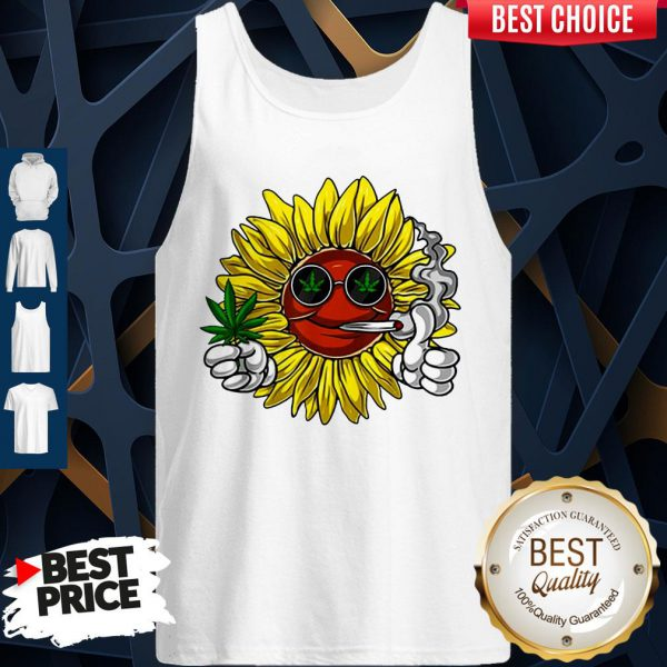 Awesome Hippie Sunflower Smoking Weed Stoner Cannabis Marijuana Leaf Tank Top