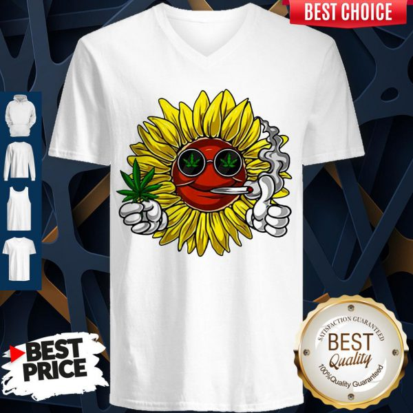 Awesome Hippie Sunflower Smoking Weed Stoner Cannabis Marijuana Leaf V-neck