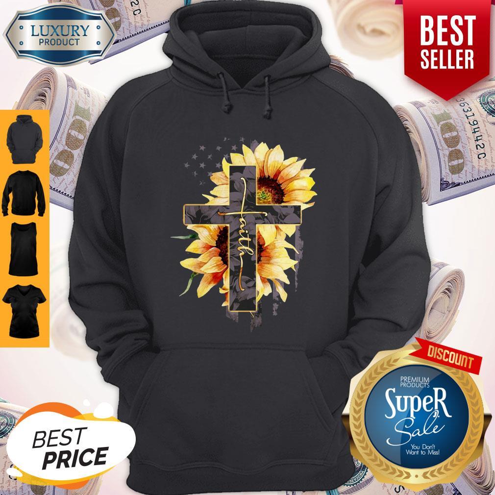 Faith Sunflower American Flag Hoodie