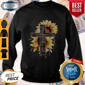 Faith Sunflower American Flag Sweatshirt