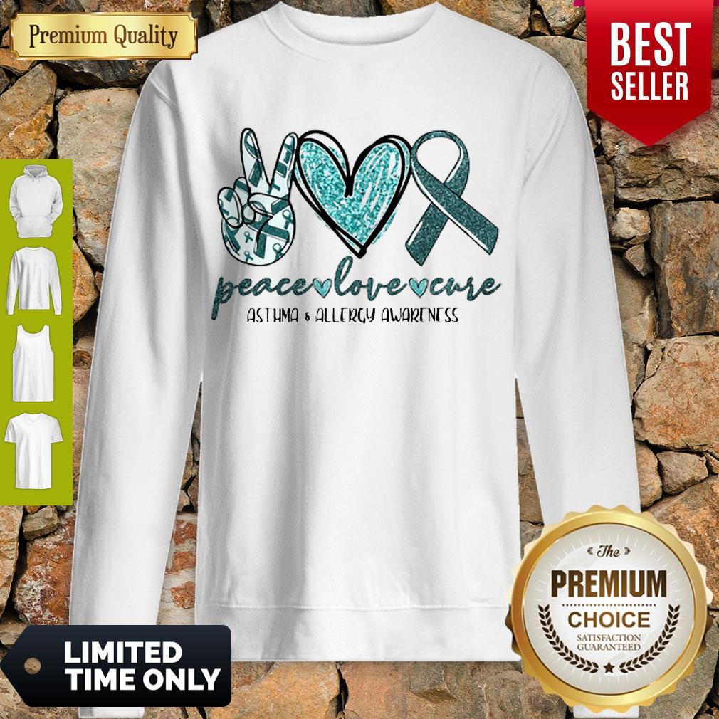 Funny Peace Love Cure Asthma Allergy Awareness Sweatshirt