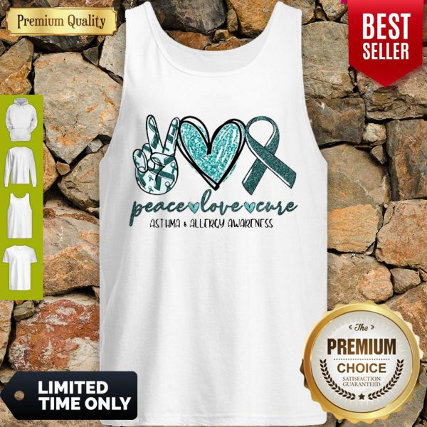 Funny Peace Love Cure Asthma Allergy Awareness Tank Top