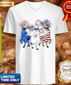 Top Donkey 2 Flag Happy American Independence Day V-neck