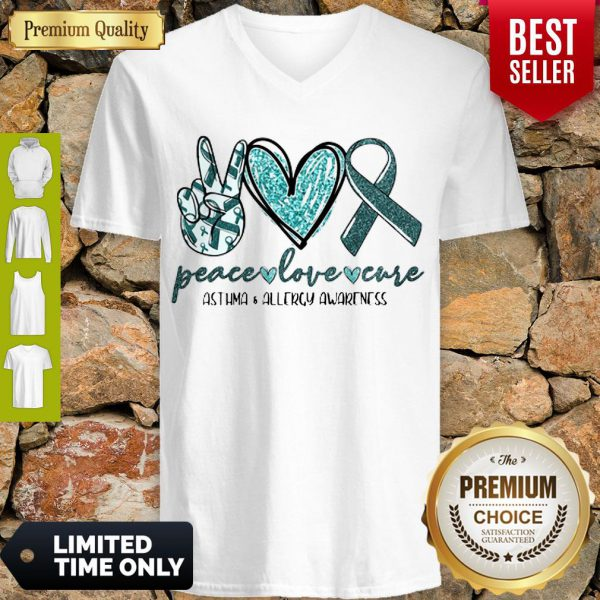 Funny Peace Love Cure Asthma Allergy Awareness V-neck