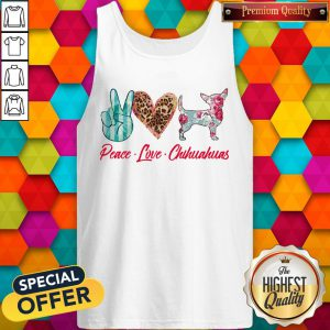 Awesome Peace Love Chihuahuas Flowers Tank Top