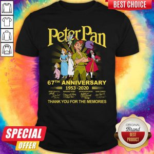 Awesome Peter Pan 67th Anniversary 1953 2020 Thank You For The Memories Signatures Shirt