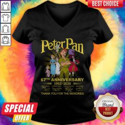 Awesome Peter Pan 67th Anniversary 1953 2020 Thank You For The Memories Signatures V-neck