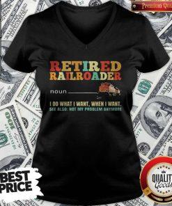 Awesome Retired Railroader Definition V-neck