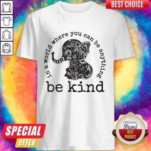 Funny In A World Where You Can Be Anything Be Kind Elephant Hoodie Shirt