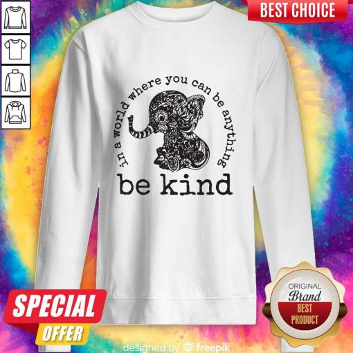 Funny In A World Where You Can Be Anything Be Kind Elephant Hoodie Sweatshirt
