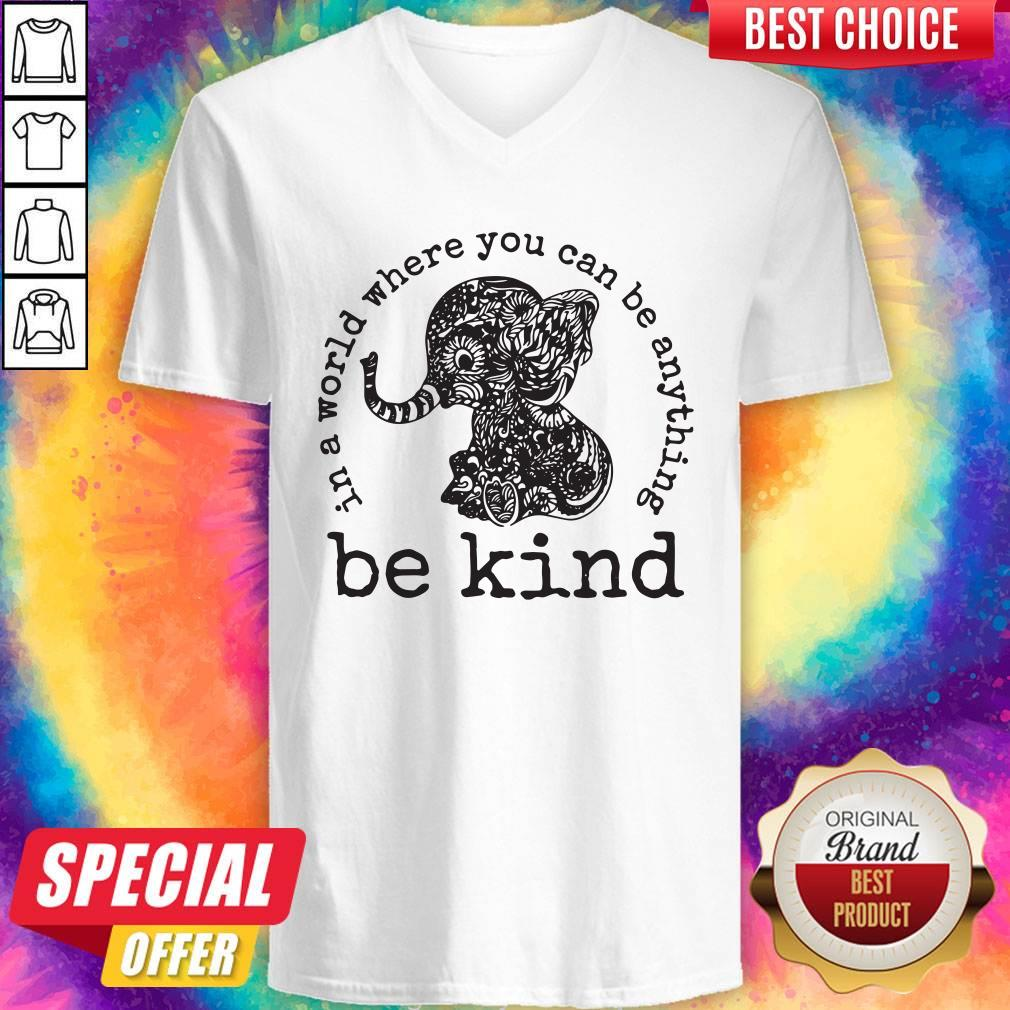 Funny In A World Where You Can Be Anything Be Kind Elephant Hoodie V-neck