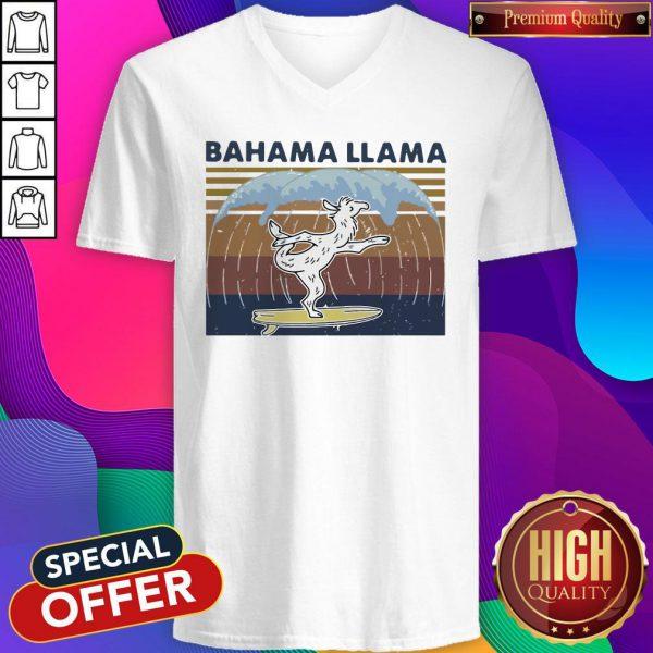 Nice Bahama Llama Dancing Vintage V-neck