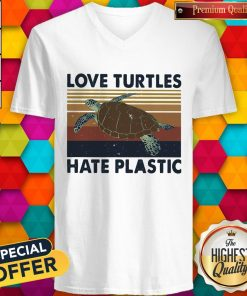 Nice Love Turtles Hate Plastic Vintage Retro V-neck