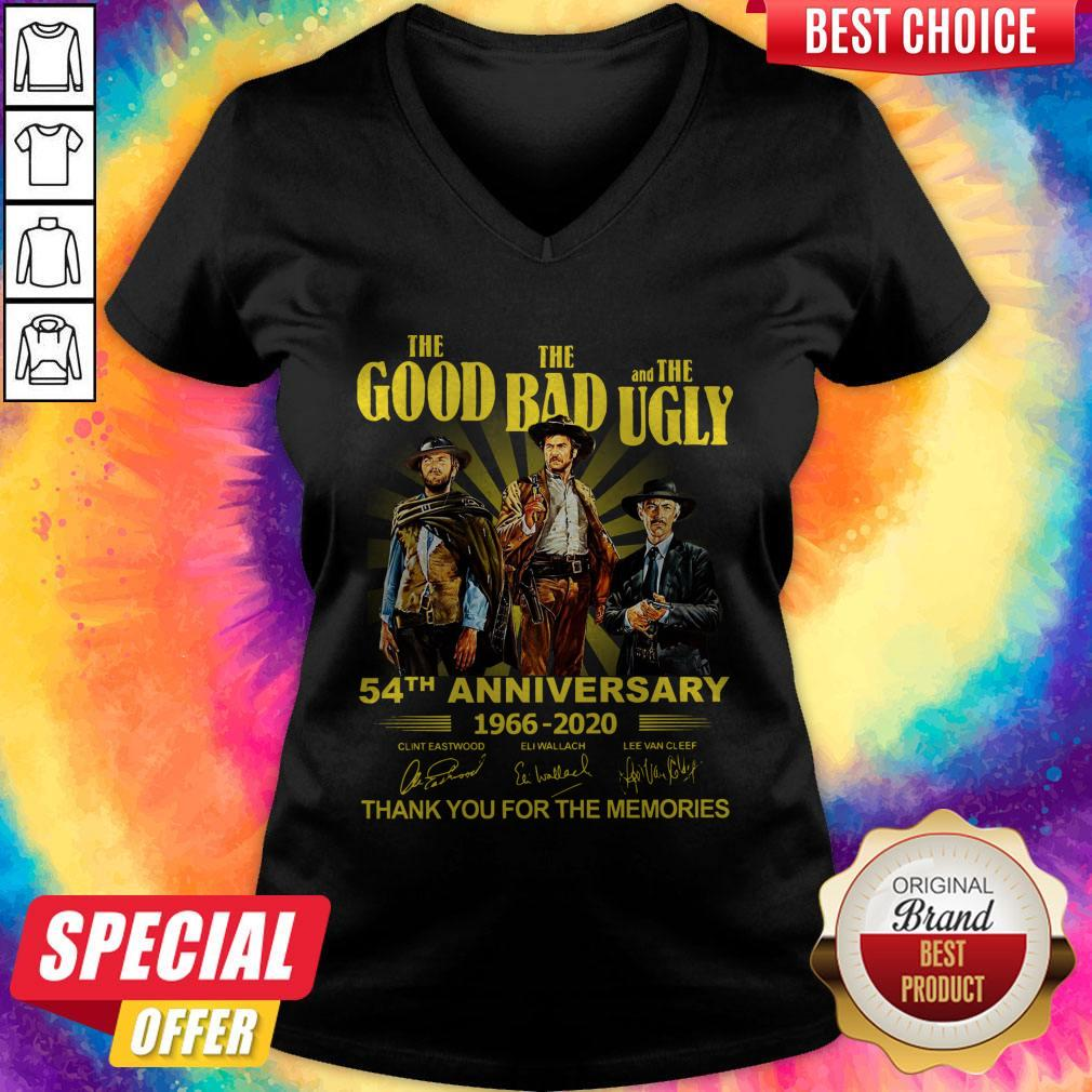 Nice The Good The Bad And The Ugly 54th Anniversary 1966 2020 Thank You For The Memories Signatures V-neck