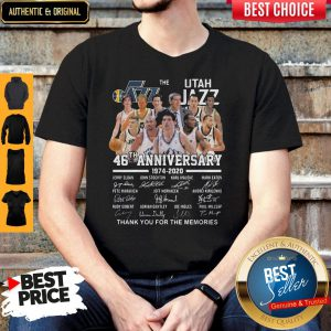 Nice The Utah Jazz 46th Anniversary 1974 2020 Thank You For The Memories Shirt