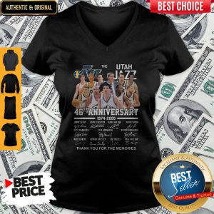 Nice The Utah Jazz 46th Anniversary 1974 2020 Thank You For The Memories V-neck