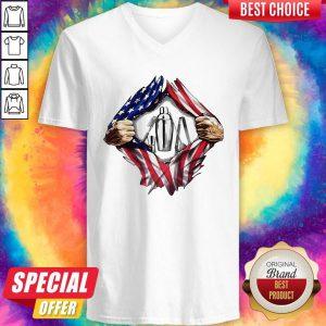 Official American Flag Veteran Independence Day Bartender Hand V-neck