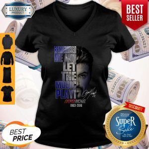 Official George Michael 1963 2016 Face Remember Me And Let The Music Play Signature V-neck