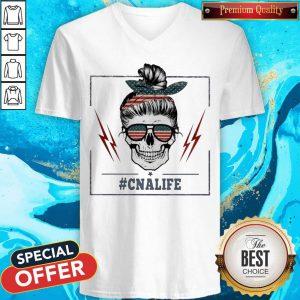 Official Skull #Cnalife American Flag V-neck