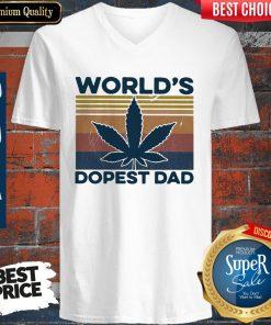 Official Weed World's Dopest Dad Vintage ShirtOfficial Weed World's Dopest Dad Vintage V-neck