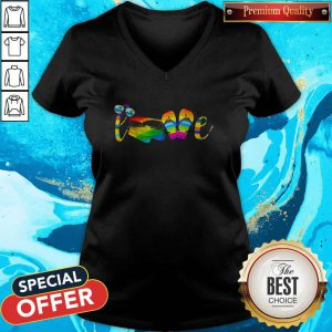 Premium Lgbt Love Sign Language Camping V-neck