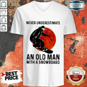 Premium Never Underestimate An Old Man With A Snowboard V-neck