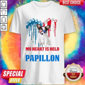 Pretty Heart Paw America My Heart Is Held By The Paws Of A Papillon Hoodie Shirt