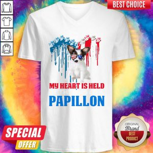 Pretty Heart Paw America My Heart Is Held By The Paws Of A Papillon Hoodie V-neck